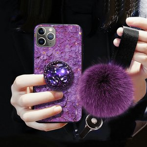 Diamond Hair Ball Lanyard Bracket Soft designer phone case For iphone 11 pro max case x xs xr max 7 8 plus 3D Bling Holder coque iphone 11