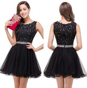 리틀 블랙 레이스 A 라인 칵테일 드레스 얇은 명주 그물 프릴 구슬 모조 다이아몬드 짧은 파티 홈 커밍 댄스 파티 드레스 100 % 리얼 이미지 CPS381