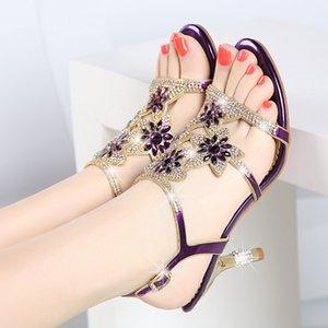 Sandalia Feminina echtes Leder Mode-Absatz-Schuhe reizvolle dünne Fersekristall Schuhe Größe 41 Frauen Sandalen