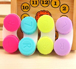 Popular High Quality 100pcs lot Contact Lens Case lovely Colorful Dual Box Double Case Lens Soaking Case