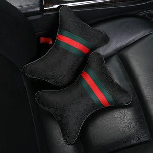 2 piezas de coches Almohada para cuello Almohada de espuma viscoelástica resto del cuello del apoyo para la cabeza del amortiguador de asiento del cojín de alta calidad reposacabezas de seguridad interior del automóvil