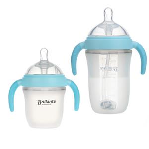 2pcs Нового Brillante младенец молоко силиконовой бутылки бутылочка для кормления Синего 240мла (8oz) 150мл (5 унции) Силикагель младенец Питьевой