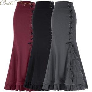 Belle poque Steampunk Gothic Vintage Skirt Victorian trumpet Ruffle Lolita Skirt Retro High Waist Black Punk Women Skirts
