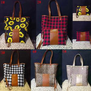5styles stampa del leopardo patchwork borsa con cerniera wristlet borsa di girasole manico in pelle di bufalo tote shouler plaid bag 17inch