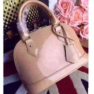 доставка ALMA BB shell сумка женщин лакированной кожи цветок тиснением сумки на ремне с замком crossbody сумка сумки.