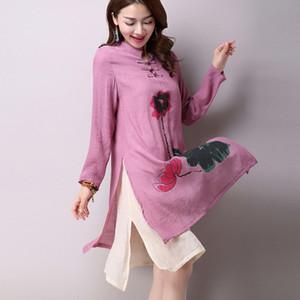 das mulheres National Vento casuais de manga comprida de algodão de linho Vestido Plus Size longos vestidos de linho simples impressão frete grátis