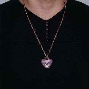 Or Fashion-18K Hip Hop chaîne personnalisée Skeleton coeur brisé collier coloré Glacé pourpre cz Zircon pour hommes et femmes