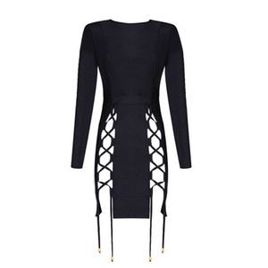 2017 new spring girl dress wholesale black long sleeve lace up bandage dress prom party Dresses Dress + suit
