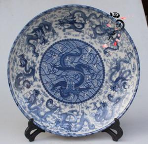 Antiguidades Antique Coleção Antique Cerâmica Azul e Branco Porcelana Dragon Plate Bandeja Prato Platter Decoração Artesanato