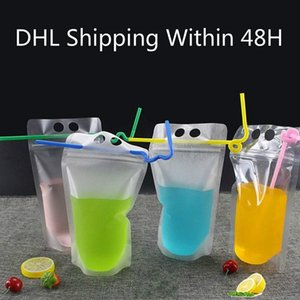 DHL Shing! 500ml Transparent Self-sealed Plastic Drink Packaging Pouch for Beverage Juice Milk Handle and Holes for Straw fy4061