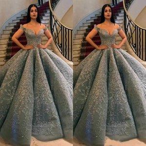 Серый Puffy Пром платья Длинные плеча кружева аппликациями из бисера Формальные партии платья бальное платье Вечерние платья плюс размер