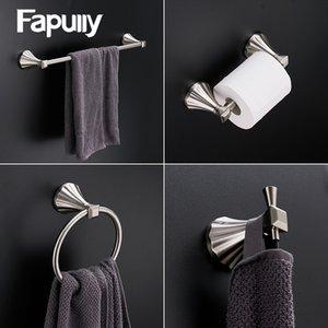 Fapully accesorios de baño Conjunto cepillado 4pcs sostenedor del gancho toallero gancho de la ropa de papel Estante porta-accesorios de baño de hardware