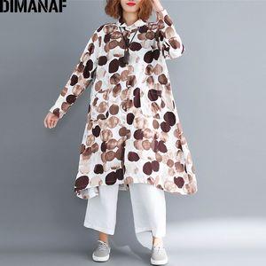 DIMANAF Plus La Taille Femmes Chemisier Chemise De Lin Vintage Lady Tops Tunique D'été Femme Vêtements Polka Dot Lâche Casual À Manches Longues 2019