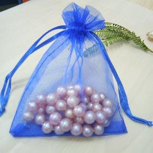 Hot100pcs Royal blue Drawable Organzabeutel mit Kordelzug Beutel Hochzeit Geburtstagsweihnachtsfest Geschenk Schmuck Verpackung Display-Taschen