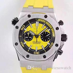 남성 시계 노란색 격자 무늬 44MM 석영 야외 고무보다 동적 인 시계 스테인레스 스틸 케이스 두 작업 Subdials 남성 손목 시계 다이얼