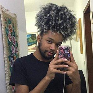 Grado 8A Brasiliano Virgin Virgin Man Grey Hair Ponytail Afro Argento Grigio Grigio Cavallini Domestici Ponytail Parrucchino 1 PZ Pettine in estensioni per capelli 100g o 120g