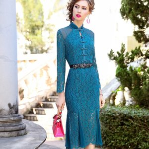Summer Dress Retro Women 2020 New Spring Lace Cheongsam Sexy Dress Plus Code Womanliness Retro Flowe Package Hip Party Dresses