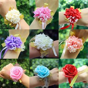 Nuevas flores artificiales decoraciones de la boda nupcial mano flor damas de honor hermanas muñeca ramillete espuma rosa simulación flores falsas XD20210