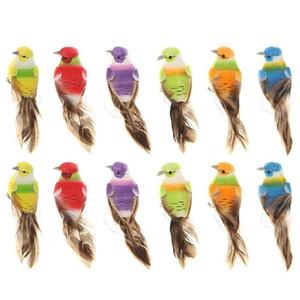 12pcs colorido Mini Simulação Birds Falso Artificial Modelo Animal Foam casamento Miniature Início Jardim decoração do ornamento C19041601