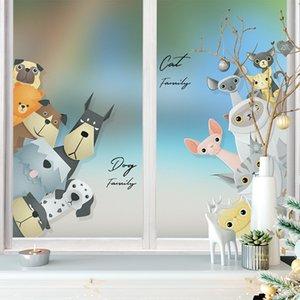 Custom Size Glass Film Static Cling Vinyl Cute Animals Cat Dog Pattern Bathroom Window Door Cabinet Decoration Film 40cmx100cm