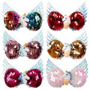 6-color 3.5 polegada Arcos de cabelo Unicórnio Clipes de Natal Sequência Com Anjo Asas de cabelo Arcos Unicórnio Charme Acessório de Cabelo Meninas Barrettes