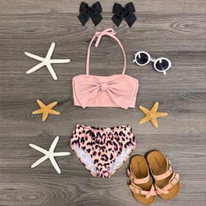 roupas de verão conjunto de roupas de bebê meninas da criança das crianças das crianças meninas mangas Bow Swimsuit + leopardo Shorts Set Swimwear