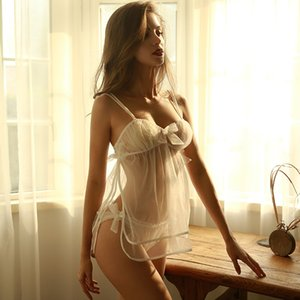 Hot Sweet Recommend White Wedding Pajama Set Summer Front Bow Backless Sling Tops Shorts Night Home Clothes Sexy Lingerie Y200425