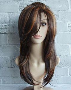 Newest wigs Europe and America ladies long curly side bangs brown highlights long hair micro-volume straight hair
