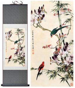 Blumen- und Vogelmalerei Silk Scroll Painting