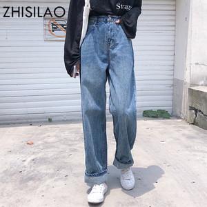 ZHISILAO High Waist Boyfriends Jeans Plus Size Weinlese-beiläufigen Jeanshosen Maxi-Damen lösen zerrissene Jeans für Frauen Feminino Blau