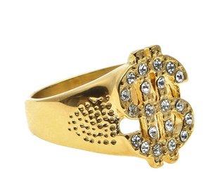 الفولاذ المقاوم للصدأ الذهب اللون الدولار تسجيل الطوق الهيب هوب روك الشرير lced خارج بلينغ الزركون حجر الراين الرجال خواتم الأزياء والمجوهرات