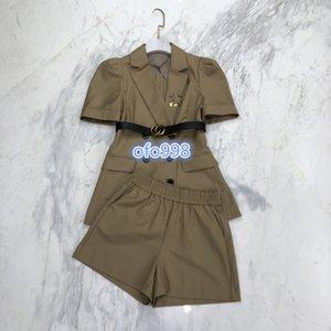 2020 di fascia alta delle donne ragazze activewear set maglietta alti giacca cappotto collo bavero lettera top a manica corta e pantaloncini da jogging abito di moda
