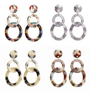 Nuova Boemia resina acrilica di marmo della vena orecchini multicolore Circle String Geometria Dichiarazione ciondola Ear Stud Eardrop femminile gioielli Accesory