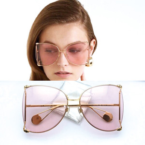 Luxus Designer Sonnenbrille Klar Runde Brille Frauen Klassische Optik Brillen Große Metallrahmen Transparente Linse Perle Brillen Ornamental