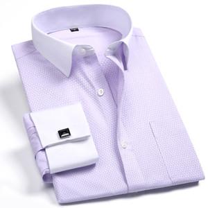 Mens Dress Shirt Plus Size 4XL 5XL 35% Algodão Formal Moda Francesa Lavender Sólidos Asiático Tamanho para a Primavera Verão ZWXFS18