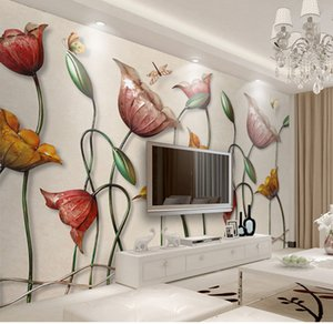 3D Retro creative wallpaper living room TV large art mural simple atmospheric lotus bedside background wall