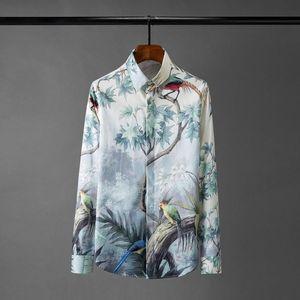 Partido de la manga para hombre de las camisas de lujo Minglu Digital Todos larga impresa camisas de vestir para hombre tamaño 4XL delgado de la manera Hombre ocasional