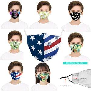 cara diseñador de máscaras niños enmascaran usa flag flores verde 3D impresión digital correa ajustable de protección a prueba de polvo del oído hijos filtro Máscara