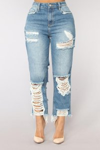 Sexy Ripped Hole Jeans for Women High Waisted Straight Jeans Blue Ankle- Length Tassels Denim Pants Plus Size