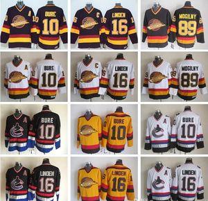 16 Trevor Linden Jersey Homens Vancouver Hockey CCM Canucks Vintage Jerseys 10 Pavel Bure 89 Alexander Mogilny costurado Black White