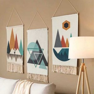 Tassel tapeçaria mão nó tecido Wall Hanging Ornament Boho Art Início de malha Macrame Tapestry Wall Hanging Decor muçulmana