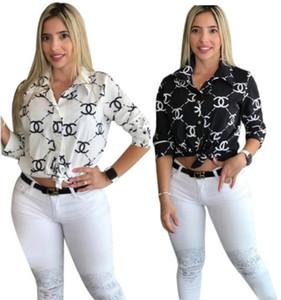 Женская блузка цельный футболка осень принт высокое качество знаменитые футболки с длинным рукавом женская мода рубашка с отворотом рубашки женская одежда klw2003