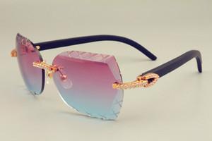 2019 الشحن المجاني جديد DHL عدسة الساخن بيع النظارات الشمسية 8300593-A الخشب الأسود الطبيعي نظارات جدا، والماس الفاخرة للجنسين ظلة المرآة،