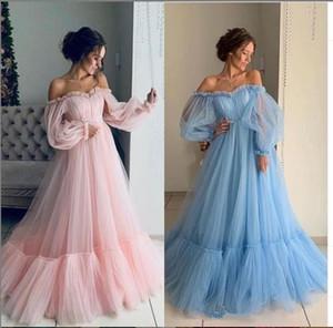 부드러운 Tulle 짧은 긴 소매 A 라인 댄스 파티 드레스 2020 사용자 정의 야간 파티 드레스 프린세스 투투 중동 특별 행사 복장
