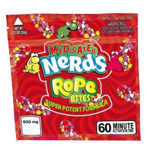 Квадратные полудурков Rope ющий медикаментозный Укусы конфеты Упаковка мешок полудурков Rope конфеты Nerdsrope sGummy сумки Три края запечатывания мешок фольги пищевой упаковки DHL