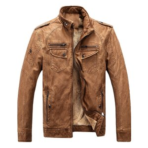 Chaquetas de abrigo para hombre Abrigo Nuevo Primavera Invierno Gruesa Forro de piel sintética para hombre Chaquetas de abrigo Vintage PU Hombre Moto Faux Leather Abrigos de moto
