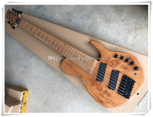 7 Strings Original Neck-thru-body Electric Bass Guitar with Fan Frets,Black Hardware,Maple Fingerboard,Can be customized