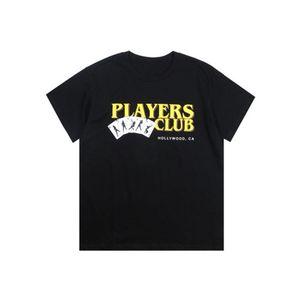 Известные Мужские футболки Summer T Shirt Игроки клуба Streetwear Мода Мужчины Женщины Hip Hop Короткие рукава Тис Размер S-XXL