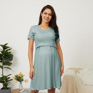 PatPat 2020 New Summer Cozy Solid Short-sleeve Nursing Pajamas for Maternity Intimates Pajamas Clothes