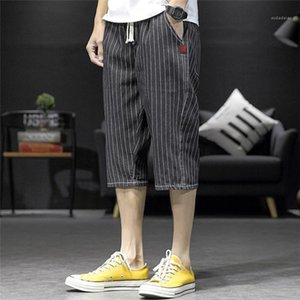 Street Style Short 5XL Mens Striped Print Shorts Teenagers Summer Designer Plus Size Knee Length Pants Males Casual